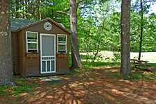 Pine Cabin Exterior at Ashuelot River Campground